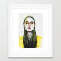 yellow Framed Art Prints featuring yellow lemongrass by agnes-cecile