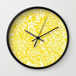 Marigold Lino Cut, Mustard Yellow Wall Clock