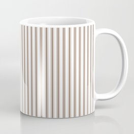 Mattress Ticking Narrow Striped Pattern in Chocolate Brown and White Coffee Mug
