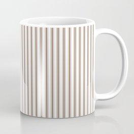 Mattress Ticking Narrow Striped Pattern in Chocolate Brown and White Coffee Mug