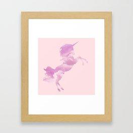 Pink Sky Unicorn Framed Art Print
