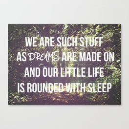 we are such stuff Canvas Print