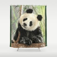 china Shower Curtains featuring China Bear by Trudi Simmonds