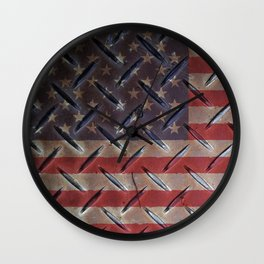 "United States ""painted on metal"" flag Wall Clock"