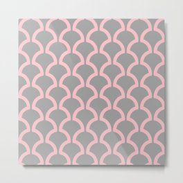 Classic Fan or Scallop Pattern 490 Pink and Gray Metal Print