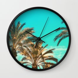 Tropical Palm Trees  - Vintage Turquoise Sky Wall Clock