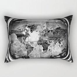 astronaut world map black and white 2 Rectangular Pillow