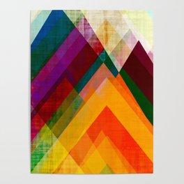 mountain art, geometric art, contemporary art print, modern art print, colorful wall art, midcentury Poster