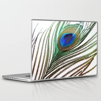 peacock feather Laptop & iPad Skins featuring Peacock Feather by chauloom