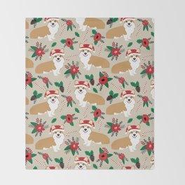 Welsh Corgi poinsettia christmas hat santa little corgi elf pet friendly dog breed gifts Throw Blanket