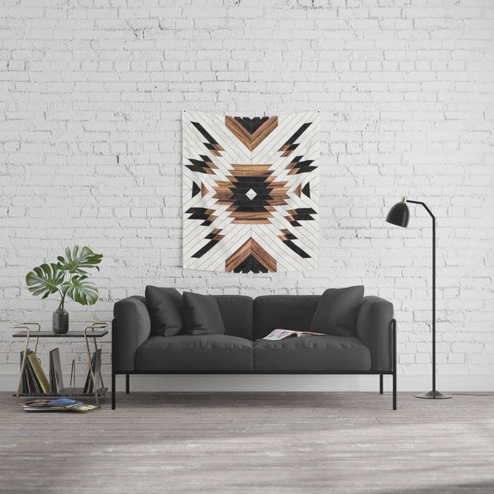 Urban Tribal Pattern No.5 - Aztec - Concrete and Wood Wall Tapestry