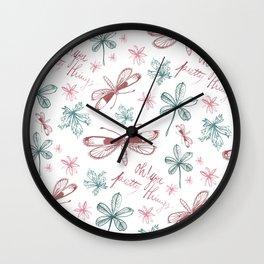 Among Dragonflies White Wall Clock