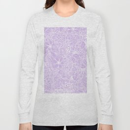 Modern trendy white floral lace hand drawn pattern on pastel lavender Long Sleeve T-shirt