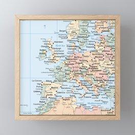 World Map Europe Framed Mini Art Print