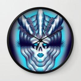 Horned Diva Skull 2 Wall Clock