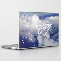 plane Laptop & iPad Skins featuring Paper Plane by Leah Flores