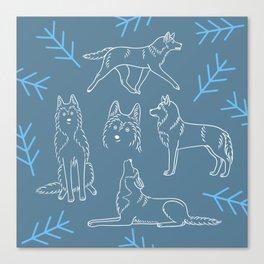 Siberian Husky Pattern (Blue-Gray) Canvas Print