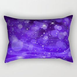 Whimsical Purple Glowing Christmas Sparkles Bokeh Festive Holiday Art Rectangular Pillow