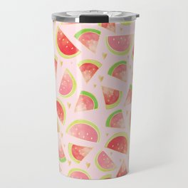 Watermelon Slices & Gold Hearts Travel Mug