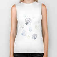 seashell Biker Tanks featuring Shell Pattern by Christina Rollo