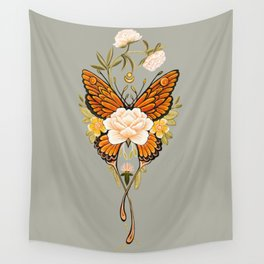 Butterfly Peonies Tattoo Wall Tapestry