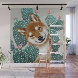 Shiba Inu and Cactus Wall Mural