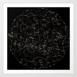 Constellations Map, Stars, Astronomy Cosmos Galaxy Art Print