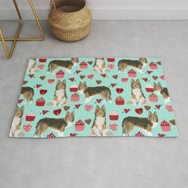 Sheltie shetland sheepdog valentines day love hearts cupcakes dog gifts puppies pet friendly art Rug