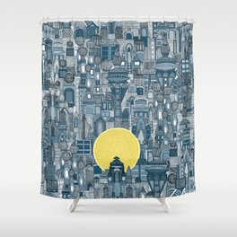 space city sun blue Shower Curtain