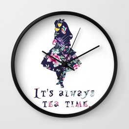 Alice floral designs - Always tea time Wall Clock