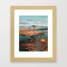 Curved road to volcano, Iceland Framed Art Print