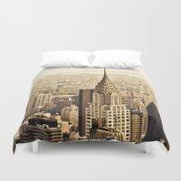 new york skyline Duvet Covers featuring New York City Skyline by Vivienne Gucwa