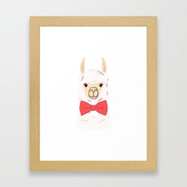 Cute Llama with bow-tie. Print for fabric, t-shirt, poster Framed Art Print