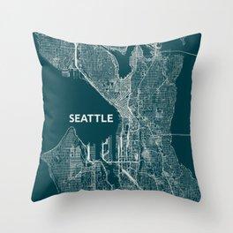 Seattle, US street map Throw Pillow