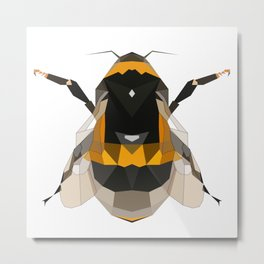 Bumble bee artwork Geomeric art Yellow and black Bee Midern design Metal Print