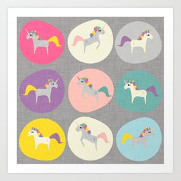 Cute Unicorn polka dots grey pastel colors and linen texture #homedecor #apparel #stationary #kids Art Print