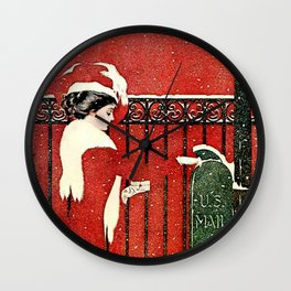 """C Coles Phillips """"Christmas Card Mail"""" Wall Clock"""