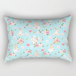 Tea Party with little Bunnies in spring Rectangular Pillow