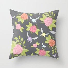 Garden of Fairies Pattern in Grey Throw Pillow