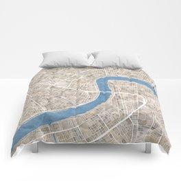 New Orleans Cobblestone Watercolor Map Comforters
