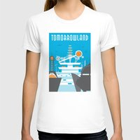 travel poster T-shirts featuring Tomorrowland Travel Poster by Rob Yeo Design