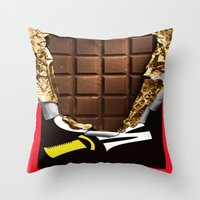 willy wonka Throw Pillows featuring Wonka Chocolate Bar by ThreeBoys