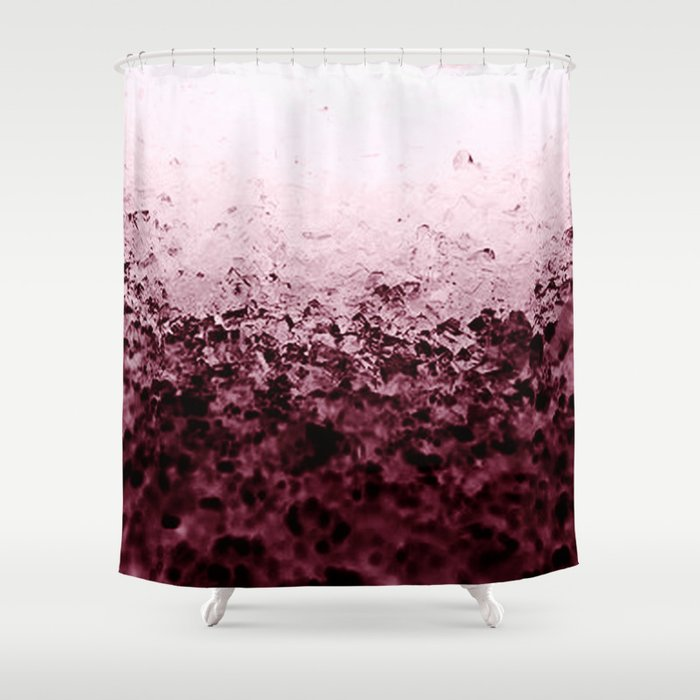 Burgundy Crystals Ombre Gradient Shower Curtain By