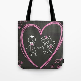 Cartoon bride and groom blackboard design Tote Bag