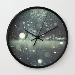 Moments of Silence - Snowflakes over the river Wall Clock