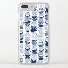 Swedish folk cats III // white background pale and navy blue kitties & bowls Clear iPhone Case