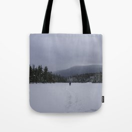 Snowshoeing Across Lonesome Lake - NH Tote Bag