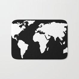 World Map White on Black Bath Mat