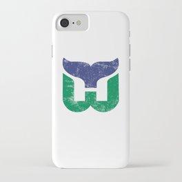 Hartford Whalers Distressed Logo - Defunct Hockey Team - New England & Massachusetts Sports Heritage  iPhone Case