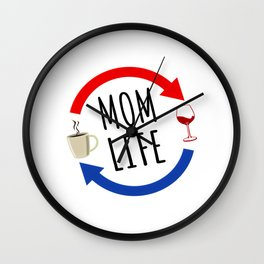 Mom Life From Coffee To Wine And Repeat Wall Clock
